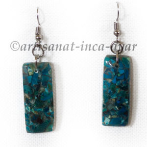 Boucles d'oreilles rectangle en chrysocolle reconstituée