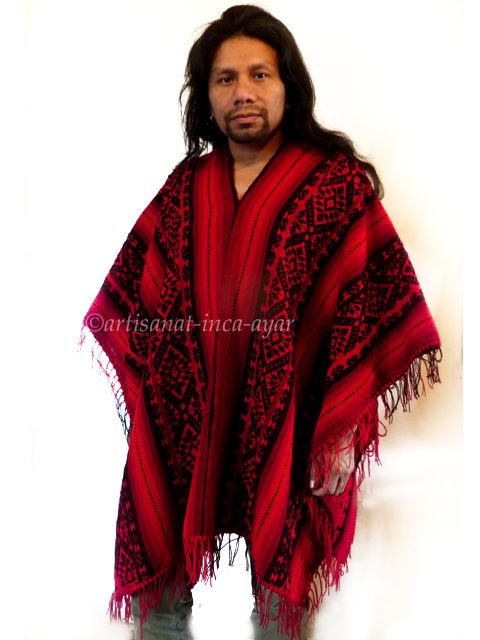Poncho homme rouge