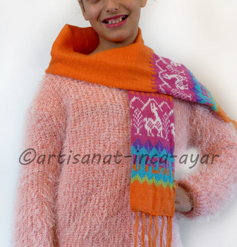 Echarpe enfant en laine d'alpaga orange et rose fuschia